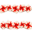 Holiday background with gift boxes and red bows vector image