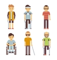 Disabled people set Old and young invalid vector image
