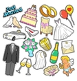 Wedding Just Married Stickers Patches Badges vector image