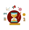 Coins inside hourglass and social media icon set vector image