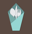 Knife Fork Spoon Set In Table Napkin vector image