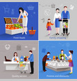 Supermarket People Set vector image