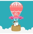 couple we are married flying hot air balloon vector image