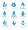 Blue water drop logos icons set vector image
