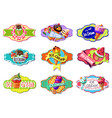 Cartoon colorful ice creams labels set vector image