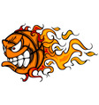 Flaming Basketball Face Cartoon vector image