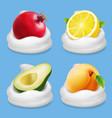 fruits yogurt set grapefruit lemon apricot vector image