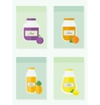 Jam and juice isolated cards in flat style vector image