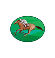 Jockey Horse Racing Oval Low Polygon vector image