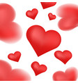 realistic 3d colorful red valentine hearts vector image