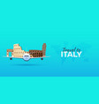 travel to italy airplane with attractions travel vector image