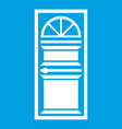 door with an arched glass icon white vector image vector image
