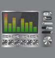equalizer with media player buttons on metal vector image