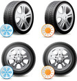 Car wheels with winter and summer tires vector image vector image