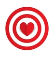 Red paper heart in the center of darts target aim vector image