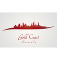 Gold Coast skyline in red vector image