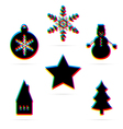 Six winter holiday flat icon vector image