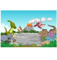 Collection dinosaur with caveman waving vector image