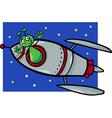 alien in rocket cartoon vector image