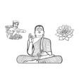 buddha statue woman tea picker lotus flower vector image