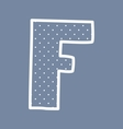 F alphabet letter with white polka dots on blue vector image