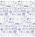 football dodle seamless pattern vector image