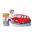 man washing a red car vector image