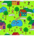seamless pattern with houses trees and people vector image