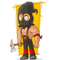 Cartoon scary maniac in black mask vector image