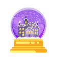 flat style snow globe house vector image