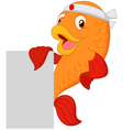 Cartoon chef fish holding blank sign vector image