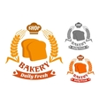 Bakery shop symbol with golden crispy toasts vector image