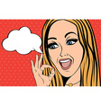 cute retro woman in comics style with ok sign vector image