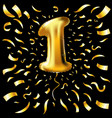 golden number one 1 first metallic balloon party vector image
