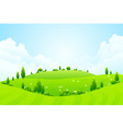 Green Background with Grass Trees Flowers and Hill vector image