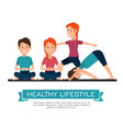 healthy lifestyle people doing yoga design vector image