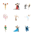 Types of dances icons set cartoon style vector image