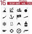 black pirates icons set vector image