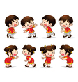 chinese boy girl actions vector image