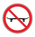 No skateboarding icon vector image