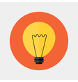 Flat orange lamp icon over red vector image