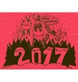 Merry Christmas and Happy New Year 2017 banner vector image