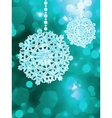 Blue snowflake over bokeh background EPS 8 vector image