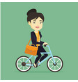 woman riding bicycle vector image