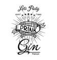 gin label vintage hand drawn border typography vector image