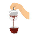 hand pouring hibiscus tea from teapot into cup vector image