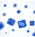 3D red discount boxes dice for store market and vector image