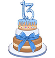 Blue Bar Mitzvah Cake For 13th Birthday vector image