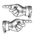 Pointing finger black vintage engraved vector image