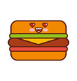 delicious burger kawaii character vector image